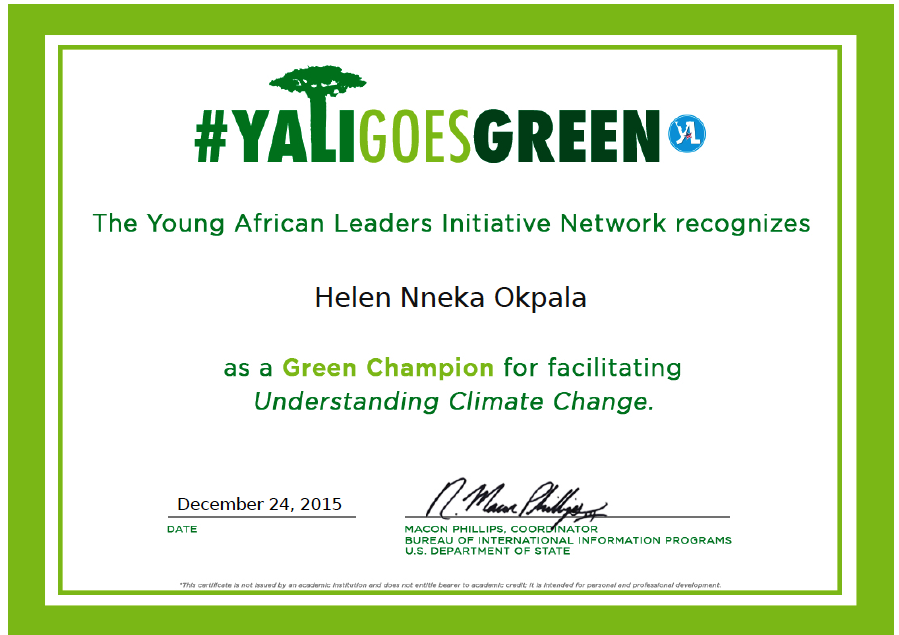 Showcasing My Green Champion Certificate Helen Okpalas Blog