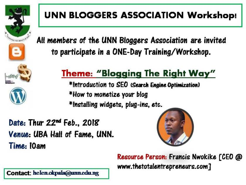 BLOGGING TRAINING THURSDAY
